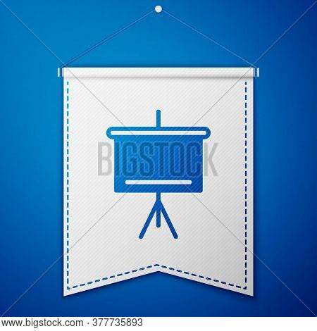 Blue Chalkboard Icon Isolated On Blue Background. School Blackboard Sign. White Pennant Template. Ve
