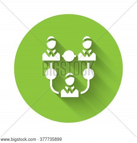 White Project Team Base Icon Isolated With Long Shadow. Business Analysis And Planning, Consulting,