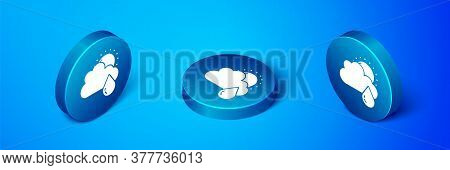 Isometric Cloud With Rain And Sun Icon Isolated On Blue Background. Rain Cloud Precipitation With Ra