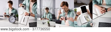 Collage Of Freelancer Drinking Coffee And Checking Time Near Digital Devices And Money On Table, Con