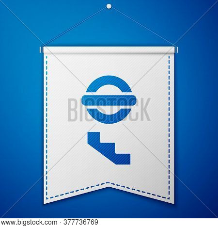 Blue London Underground Icon Isolated On Blue Background. White Pennant Template. Vector
