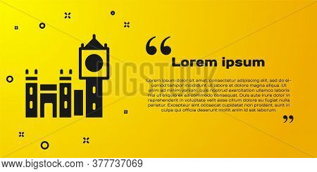 Black Big Ben Tower Icon Isolated On Yellow Background. Symbol Of London And United Kingdom. Vector
