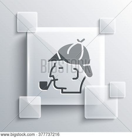 Grey Sherlock Holmes With Smoking Pipe Icon Isolated On Grey Background. Detective. Square Glass Pan