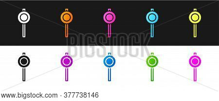 Set Road Traffic Sign. Signpost Icon Isolated On Black And White Background. Pointer Symbol. Street
