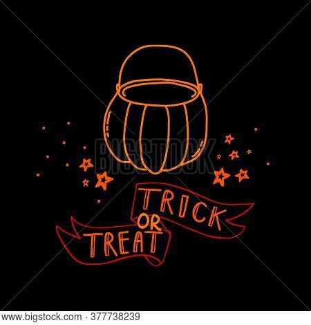 Halloween Doodle Ribbon With Trick Or Treat Lettering And Pumpkin For Sweets. Spooky And Fun Hand Dr