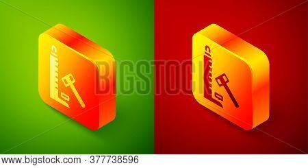 Isometric High Striker Attraction With Big Hammer Icon Isolated On Green And Red Background. Attract