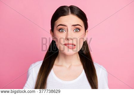 Close-up Portrait Of Her She Nice-looking Attractive Lovely Cute Lovable Worried Nervous Girl Biting