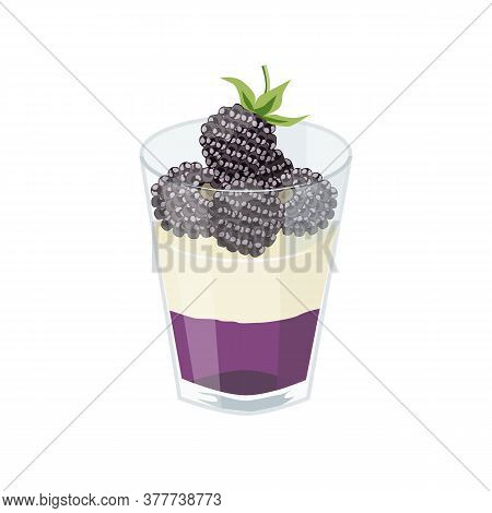Dessert With Blackberries In A Glass. Blackberry Jelly, Whipped Cream And Berries. Vector Illustrati