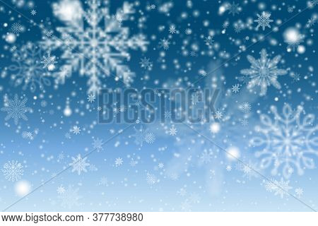 Christmas Snowflakes Shining, Transparent Beautiful Falling Snow Isolated On Blue Background. Winter
