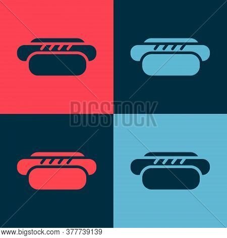 Pop Art Hotdog Sandwich Icon Isolated On Color Background. Sausage Icon. Street Fast Food Menu. Vect