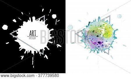 Black Drops Ink And Colorful Watercolor Splash Abstract Design Over Square Frame For Text. Set For G