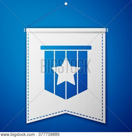 Blue American Flag Icon Isolated On Blue Background. Flag Of Usa. United States Of America. White Pe