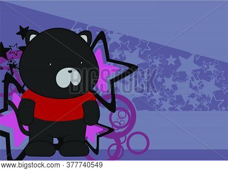 Kawaii Plush Panther Cartoon Background In Vector Format