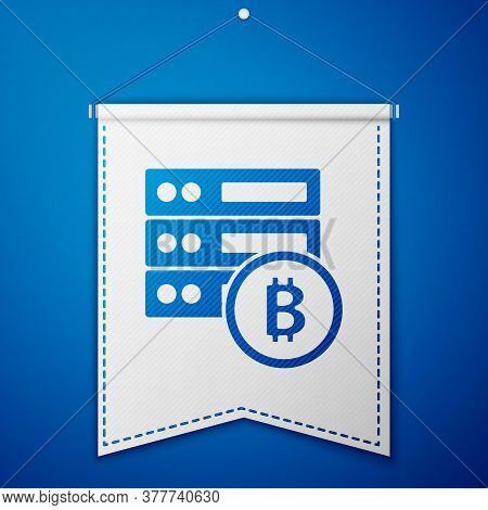 Blue Server Bitcoin Icon Isolated On Blue Background. White Pennant Template. Vector