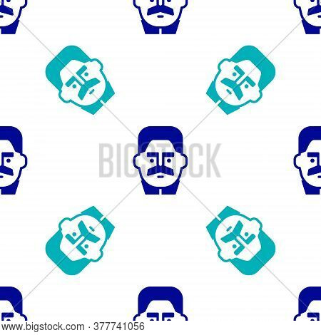 Blue Portrait Of Joseph Stalin Icon Isolated Seamless Pattern On White Background. Vector