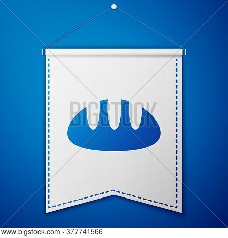 Blue Bread Loaf Icon Isolated On Blue Background. White Pennant Template. Vector