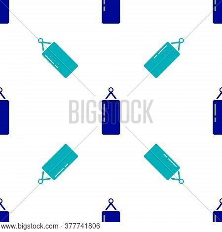 Blue Punching Bag Icon Isolated Seamless Pattern On White Background. Vector