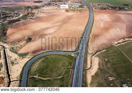 High-speed Motorway, Road, Roadway. Aerial View. Nature.