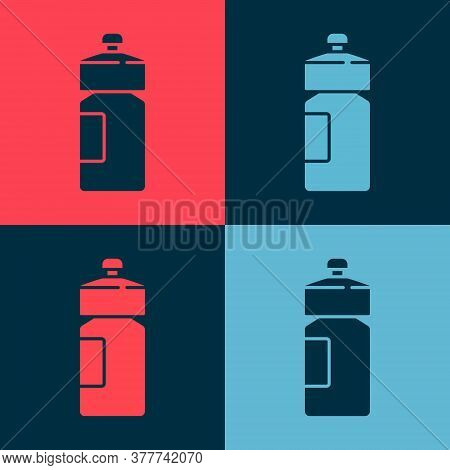 Pop Art Fitness Shaker Icon Isolated On Color Background. Sports Shaker Bottle With Lid For Water An