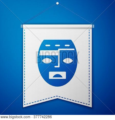 Blue Mexican Mayan Or Aztec Mask Icon Isolated On Blue Background. White Pennant Template. Vector
