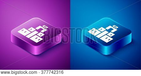 Isometric Chichen Itza In Mayan Icon Isolated On Blue And Purple Background. Ancient Mayan Pyramid.