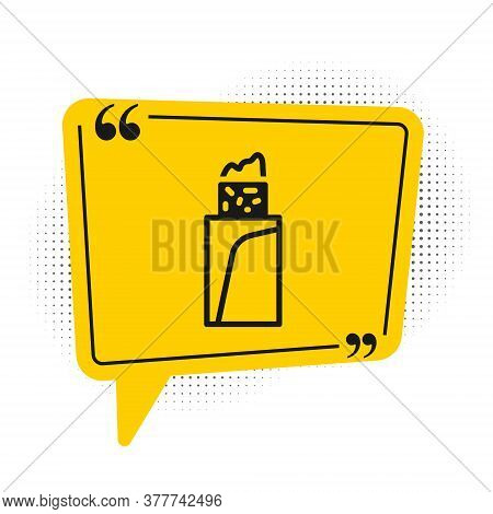 Black Burrito Icon Isolated On White Background. Traditional Mexican Fast Food. Yellow Speech Bubble