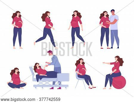 Pregnant Woman. Seeing A Doctor, Walking, Exercise With A Ball, Meditation, Sitting Relaxation. A Lo