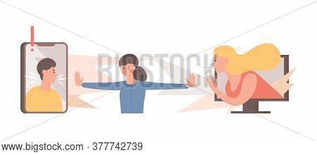 Stop Spreading Hoax And Fake News Vector Flat Illustration. Young Woman Trying To Stop People, Men,