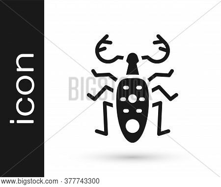 Black Beetle Deer Icon Isolated On White Background. Horned Beetle. Big Insect. Vector