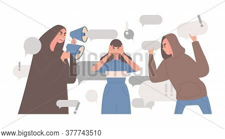 Stop Spreading Fake News And Hoax Vector Flat Illustration. Sad Young Woman Covers Ears With Hands T