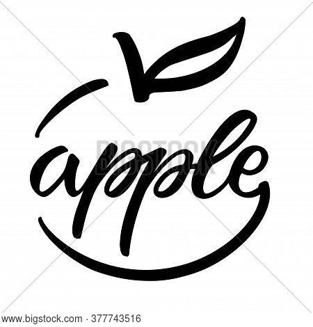 Hand Sketched Apple Lettering Typography. Logo Design. Lettering Template For Banner, Poster, T-shir