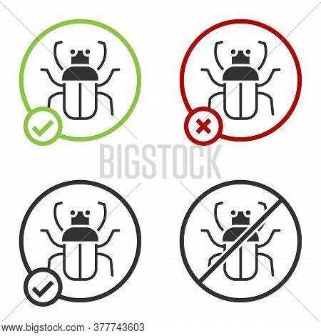 Black Stink Bug Icon Isolated On White Background. Circle Button. Vector
