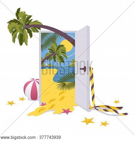 Door To Tropical Paradise, Isolated On White Background Concept Illustration With Palms, Sea, Yellow