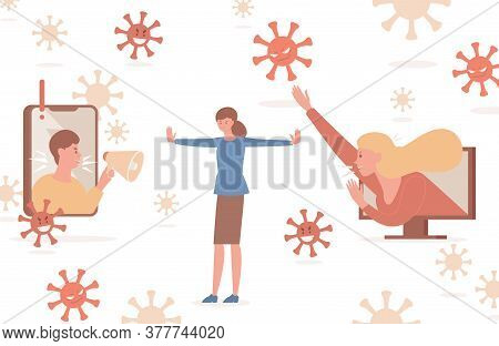 Stop Spreading Fake News And Hoax About Coronavirus Outbreak Vector Flat Illustration. Young Woman T