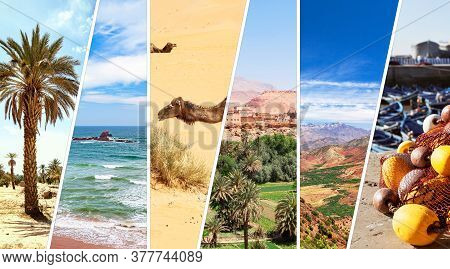 Morocco. Colorful Travel Collage. Moroccan Landmarks: Sahara Desert With Camel, Atlantic Coast, Gran