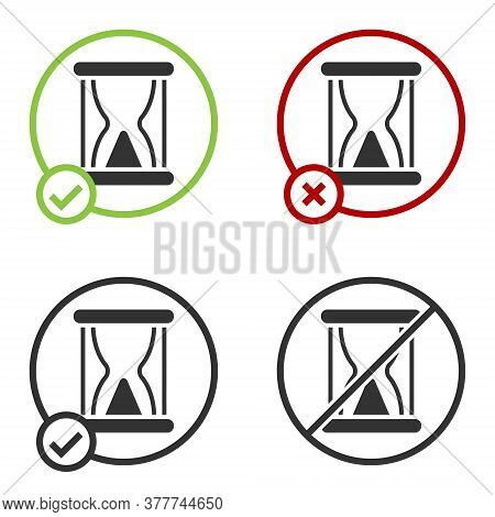 Black Old Hourglass With Flowing Sand Icon Isolated On White Background. Sand Clock Sign. Business A