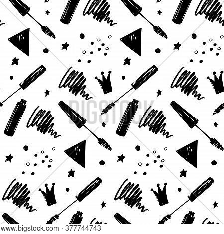Vector Seamless Pattern With Lashes And Mascara. Closed Eyes Background.