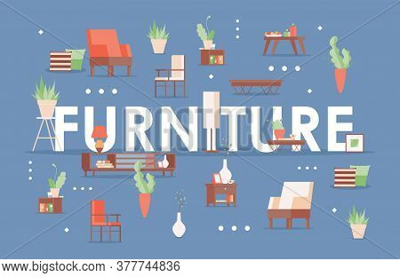 Furniture Word Flat Banner Template. Home Decoration, Chairs, Armchairs, Potted Plants, Bedside Tabl