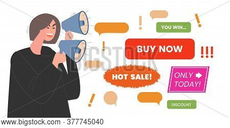 Advertising Noise Vector Flat Illustration. Young Woman With Loudspeakers Shouts About A Special Off
