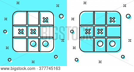 Black Line Tic Tac Toe Game Icon Isolated On Green And White Background. Random Dynamic Shapes. Vect