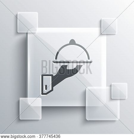 Grey Covered With A Tray Of Food Icon Isolated On Grey Background. Tray And Lid Sign. Restaurant Clo