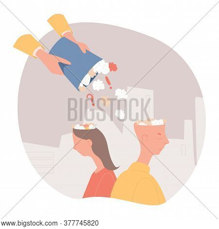 Fake News Vector Flat Illustration. Someone Hands Filling Man And Woman Heads With Informational Gar