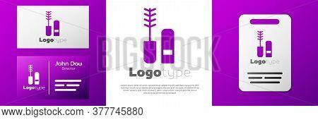 Logotype Mascara Brush Icon Isolated On White Background. Logo Design Template Element. Vector
