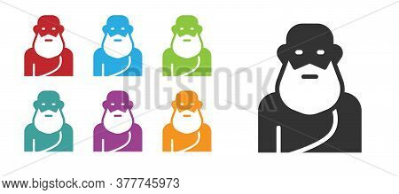 Black Socrates Icon Isolated On White Background. Sokrat Ancient Greek Athenes Ancient Philosophy. S