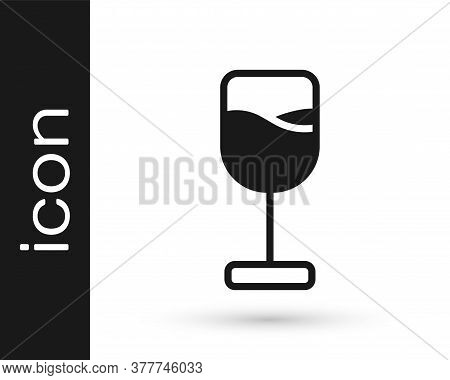 Black Wine Glass Icon Isolated On White Background. Wineglass Icon. Goblet Symbol. Glassware Sign. H