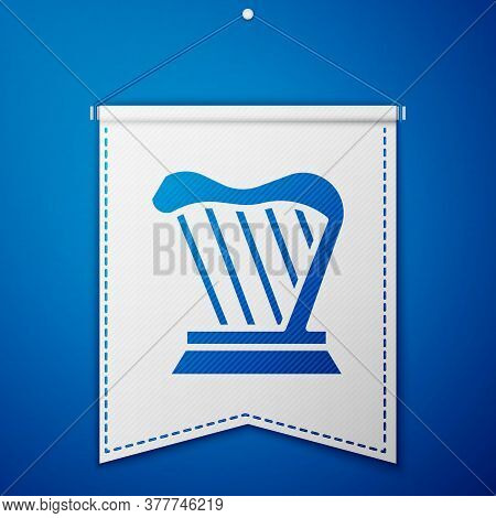 Blue Harp Icon Isolated On Blue Background. Classical Music Instrument, Orhestra String Acoustic Ele