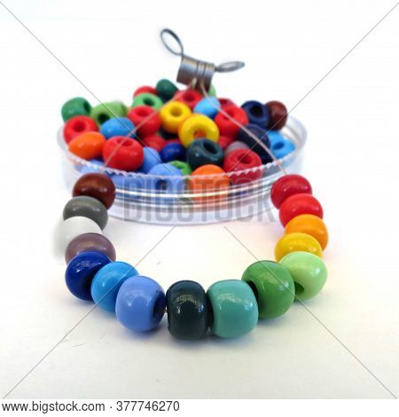 String Of Of Colorful Glass Beads For Crafting And Jewelry Making. Diy Kit, Crafting With Children.