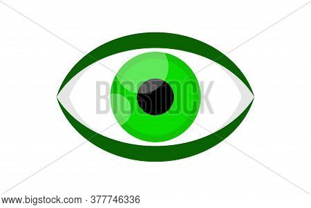 Eye Green Icon Isolated On White, Eyeball Green For Health Care Concept, Eye Graphic, Eye Redness Fo