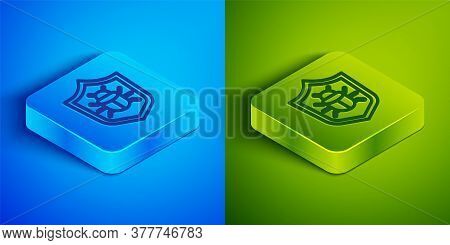Isometric Line System Bug Concept Icon Isolated On Blue And Green Background. Code Bug Concept. Bug