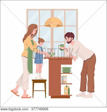 Family Everyday Life Vector Flat Illustration. Happy Mother, Father And Daughter In Comfortable Clot